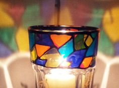 Hand Painted Glass Candle Holder by artisan1357 on Etsy, €20.00