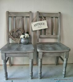 Restyled Vintage: French Willow Grey Whitewashed Chairs