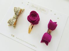 Lovely Littles and Co - Winter Berry Selection!! Rose snap clip, wool felt bow, gold glitter bow