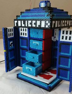 Doctor Who Tardis Jewelry Box perler beads by UGAProductions