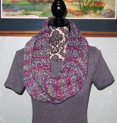 A personal favorite from my Etsy shop https://www.etsy.com/listing/479420289/pink-grey-multi-color-infinity-scarf