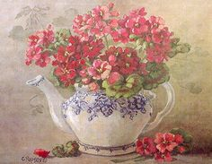 """Red GeraniumTeapot"" ~ watercolor by Christie Repasy"