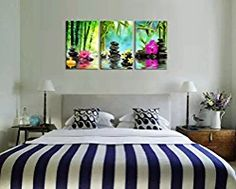 X Large Canvas Prints Zen Wall Art - SPA Black Stone Green Bamboo Pink Waterlily and Frangipani Painting Print on Canvas Framed Ready to Hang 3 Panel Modern Giclee Art Work for Hom Office Decoration