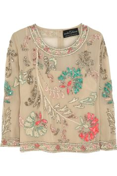 Needle & Thread|Paradise Flower embellished crepe top|NET-A-PORTER.COM