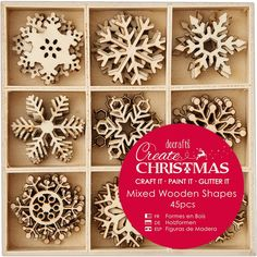 Docrafts Create Christmas 3cm Snowflakes Mixed Wooden Shapes (45 pieces), Buy it now by clicking on the picture. Only 4.37£.
