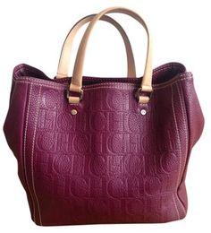Carolina Herrera Leather Tote In Burgundy Handbags Fashion