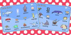 Afrikaans Under the Sea Word Mat - Onder die see Woordeskat
