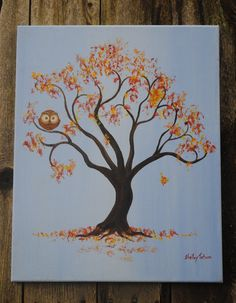 Owl in Autumn Tree by SugarCreekArt on Etsy