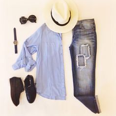 Laid back and relaxation modeBoyfriend jeans ($48)✔️Blue Classic Button Down ($24.99)✔️ Hat ($14.99 in store at Sophie)✔️Shoes ($24.99 in store at statements)✔️ Jeans and button down available online at www.Sophieandtrey.com!! #weekend #RR #laidback #relax