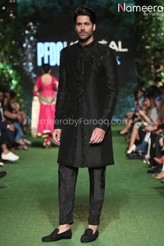 Buy Men's Sherwani-latest Pakistani Black Groom Sherwani Online 2021-Men's Wear With Dabka, Zari, Embroidery,In USA, UK, Canada, Australia Visit Now : www.NameerabyFarooq.com or Call / Whatsapp : +1 732-910-5427 Sherwani Groom, Mens Sherwani, Pakistani Outfits, Red Fabric, Collar And Cuff, Black Silk, Dress Making, Party Wear, Ready To Wear
