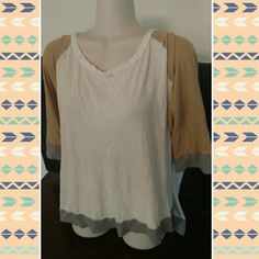 Old navy xxl top Colorblock Top w stretch in shades of tan and grey. Sz xxl Old Navy Tops Tees - Short Sleeve