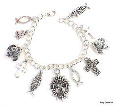 Christian Charm Bracelet by AmyDavisArt