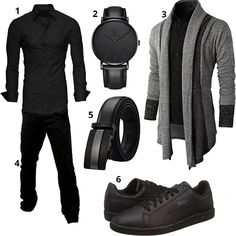 Schwarzer Männer-Style mit Strickjacke (m0383) #outfit #style #fashion #menswear #mensfashion #inspiration #shirts #cloth #clothing #männermode #herrenmode #shirt #mode #styling #sneaker