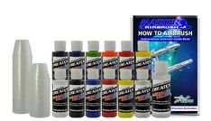 12 Createx Colors Airbrush Paint Set Basic Starter Kit - now includes (FREE) pack of 100 - 1 ounce paint mixing cups & Our FREE How-To Airbrush Book to help get you started, Published Exclusively by TCP Global. Createx http://www.amazon.com/dp/B001GTU0DQ/ref=cm_sw_r_pi_dp_L2Z2tb024XM5NJ3R