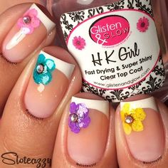 French mani with colored daisies and gems. Instagram media by sloteazzy  #nail #nails #nailart