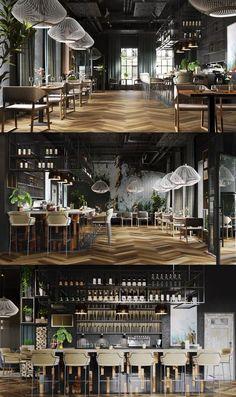 "Restaurant # ""One"" # – # Galerie # - Moderne Inneneinrichtung Cafe Bar, Cafe Restaurant, Black Restaurant, Luxury Restaurant, Restaurant Lighting, Modern Restaurant, Design Café, Patio Design, Design Ideas"