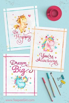 Use these free unicorn printables as room decor, party decor, or for a gift for your favorite unicorn fan! www.TeepeeGirl.com #unicorn #unicornprintables #freeprintables