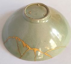 Korean-Goryeo-Period-Celadon-Bowl-Leaf-Decoration-Gold-Kintsugi-Repairs Kintsugi, Japanese Pottery, Japanese Art, Leaf Decoration, Bowl Designs, Wabi Sabi, Creative Inspiration, Art Projects, Period