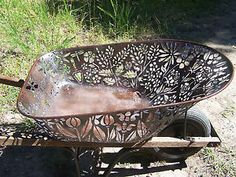 Plasma Cut Metal Flowers | ... Art. Hand Cut w/ Plasma Cutter. Floral Wheelbarrow Flowers Primitive