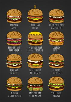 "Featuring some of my favourite pun-related burgers from ""Bob's Burgers""."
