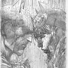 Batman and Catwoman by Jim Lee #batman #catwoman #dccomics #batmanissue50 #coverpencils #variantcover #rainynights #gotham