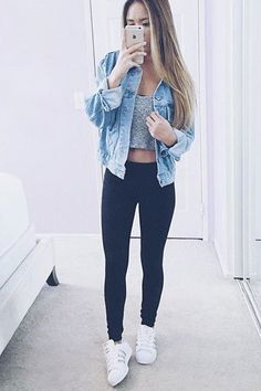 perfect street style with denim shirt and black skinny pants