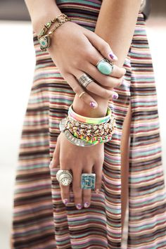 Modern hippie festival style fashion, boho chic jewelry, bracelets & rings. For the BEST in Bohemian fashion trends with an indie gypsy allure CLICK & FOLLOW >>> http://www.pinterest.com/happygolicky/the-best-boho-chic-fashion-bohemian-jewelry-gypsy-/ now