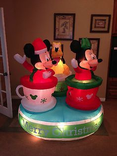 gemmy used christmas mickey minnie mouse pluto tea cups inflatable airblown - Mickey Inflatable Christmas Decorations