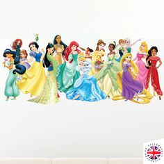Original DISNEY PRINCESS Wall Decal Sticker. Features Cinderella, Ariel, Pocahontas, Mulan, Snow White, Sofia the First, Merida, Jasmin, Belle, Tiana, Anna, Elsa, Rapunzel, Aurora and even Tinkerbell AND Moana! | eBay!