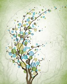 8 x 10 Blue Green Tree Wall Print, Home Office Decor, Tree Branches (240)