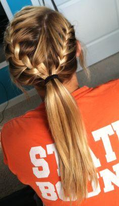 French braid into ponytail