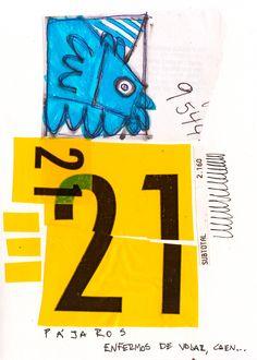 """Rodrigo Gárate Chateau. """"21 PÁJAROS ENFERMOS"""" (2014). Dibujo a tinta y collage tipográfico de un cálculo aproximado de pájaros caídos por enfermedad de vuelo."""