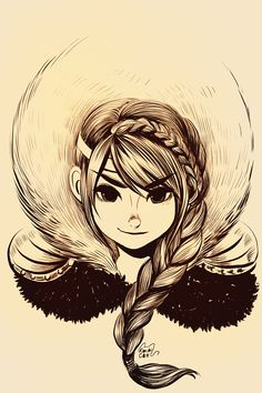 not disney , but still pretty cool sketch of astrid from how to train your dragon .