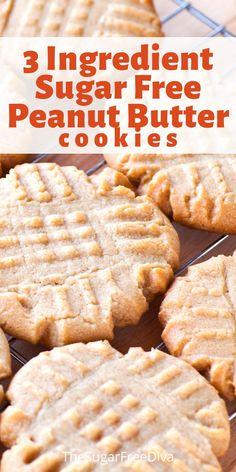 Diabetic Friendly Desserts, Diet Desserts, Diabetic Snacks, Low Carb Desserts, Diabetic Recipes, Sugar Free Deserts, Sugar Free Sweets, Sugar Free Recipes, Sugar Free Peanut Butter Cookies