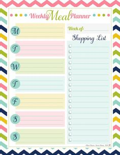 Free Weekly Meal Planner Pastel colors Make meal planning fun!