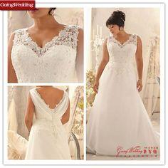 Goingwedding V-neck Cap Sleeve Lace Top Organza Plain Skirt Plus Size Wedding Dress PL0002 $128~$298