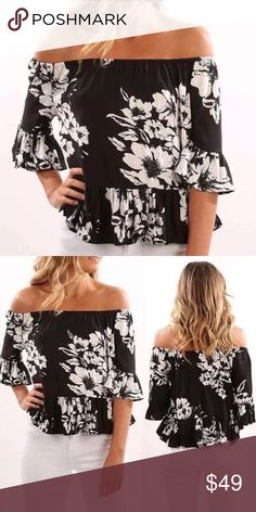 Sexy long Off Shoulder Boho floral print top Brand new addition to my closet. First time ordering this item and I absolutely love it and excited to share with my fellow poshers. Boho style floral print top. Great addition to your summer wardrobe. Will be ordering more sizes but for now only have one of each size. happy Poshing to all you fabulous fashionistas! Boutiue Tops