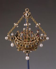 Pendant: Ship. After 1568. circle of Giovanni Battista Scolari: pair of lovers & characters of the Italian Comedy BAvaria