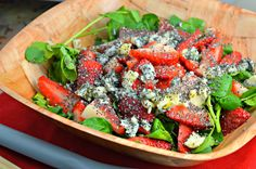 Tasty food for busy mums: Meatless Monday: Strawberry & Gorgonzola Cheese Watercress Salad with Chia Seeds