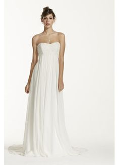 Crinkle Chiffon Gown with Lace Applique KP3695