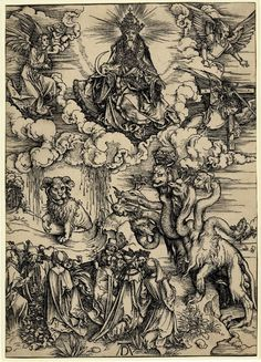 """""""The beast with the lamb's horns and the beast with seven heads"""" - Albrecht Dürer (1471-1528) Apocalypse"""