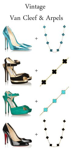 Van Cleef and Arpels Alhambra - vintage Van Cleef turquoise Alhambra and VCA onyx Alhambra pair nicely with Louboutins and Jimmy Choo