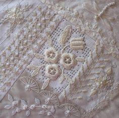 White on white crazy quilt