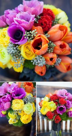 Bouquet Blueprint: a neon color-blocked wedding bouquet Neon Wedding Colours. Fluorescent Colours, Bright Colours for Wedding. Ideas and Inspirations