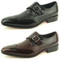 Carrucci Wingtip Monk Strap, Men's Dress Leather Shoes,Black & Burgundy 8.5-15US
