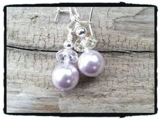 Lavendar Pearl and Crystal Earrings Free Shipping by JuneMoonBeads, $11.99
