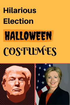 Hilarious election halloween costumes for adults Dress up as one of this years Presidential Candidates and scare the heck out of people. Choose from Hilary Clinton, Donald Trump or even Ted Cruz, Themed Halloween Costumes, Scary Halloween Decorations, Halloween Photos, Cute Halloween, Halloween Gifts, Halloween Stuff, Pirate Costumes, Princess Costumes, Vintage Halloween