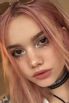Glitter tears and pastel hair