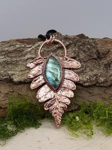 Real Fern Earrings Electroformed Copper with Deep Red Garnets and Dark Pink Tournaline
