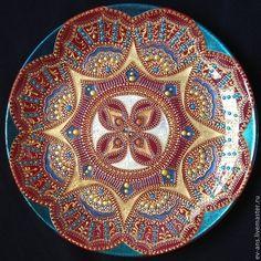 Тарелка декоративная Fire and water - бордовый,бирюзовый,золотой,Тарелка декоративная